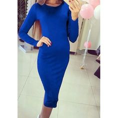 MalangFashion Blue Plain Round Neck Long Sleeve Fashion Midi Dress
