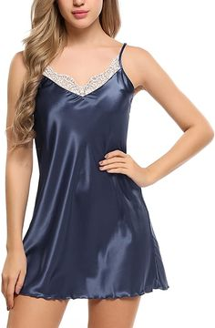 Bulges Women's Nightdress Satin Slip Chemises Lace Nightgown Sexy Lingerie Nightwear at Amazon Women's Clothing store Lingerie Babydoll, Satin Lingerie, Lingerie Dress, Pretty Lingerie, Sexy Lingerie, Lingerie Sleepwear, Cute Nightgowns, Pyjama Satin, Night Gown Dress