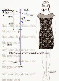 PASSO A PASSO MOLDE DE VESTIDOEste tipo de vestido veste bem em qualquer ocasião, escolha um tecido a condizer com o uso que pretende dar ao vestido, para festas ou outro tipo de evento escolha seda o