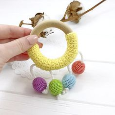 items-similar-to-baby-teether-ring-wooden-teething-toy-teething-ring-teething-ring-beaded-crochet-teether-rattle-teether-toy-baby-teething-bracelet-on-etsy/ - The world's most private search engine Crochet Baby Toys, Crochet Gifts, Baby Patterns, Crochet Patterns, Teething Bracelet, Newborn Toys, Teething Toys, Fidget Toys, Baby Teethers