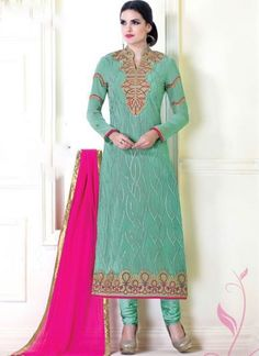 Turquoise Magenta Pink Embroidery Work Designer Georgette Churidar Suit #Anarkali #Churidar #Pakistani #Suit #Salwar #Bollywood http://www.angelnx.com/Salwar-Kameez