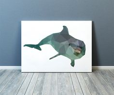Lovely nautical print, colorful decor for your home and office. Dolphin poster. Animal art. Available in two sizes: A4 (8.2x11) and A3