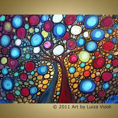 Original Abstract Painting Trees Landscape Fantasy by LUIZAVIZOLI, $245.00