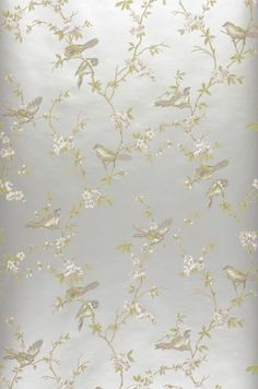 $70.34 Price per roll (per m2 $12.58), Romantic wallpaper, Carrier material: Paper-based wallpaper, Surface: Smooth, Look: Hand printed look, Matt, Design: Birds, Branches with leaves and blossoms, Basic colour: White aluminium, Pattern colour: Pale brown, Light grey beige, Pastel violet, Reed green, Characteristics: Lightfast, Wet removable, Paste the wallpaper, Water-resistant