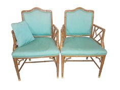 Pair of Chinese Chippendale Faux Bamboo armchairs, Hollywood Regency Style. Chairs are comfortable, sturdy and solid, bright turquoise fabric in good condition, seats and two sided padded backs, faux bamboo wood finish ,lighter wood , chair frame is actually made of resin, and so safe for outside use paitio, poolside.. Beautiful pair for contemporary or eclectic mix, porch, patio, foyer, dining, elegant and crisp pair. Dimensions: 37 H X 24 D X 24 W Seat height 18   SHIPPING NOT INCLUDED…