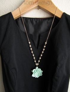 Mint Green Rose Necklace with Pearls $32