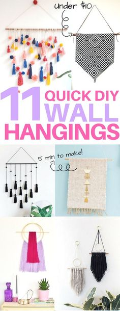 Cheap & easy DIY wall hangings you must see! diy home decor, diy wall art, diy apartment decor, 5 minute diy projects, boho decor, apartment decorating