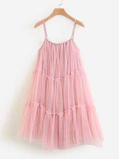 To find out about the Tiered Seam Mesh Cami Dress at SHEIN, part of our latest Dresses ready to shop online today! Lolita Fashion, All Fashion, Pink Fashion, Fashion Dresses, Luxury Fashion, Midi Dresses, Dress P, Pink Dress, Dress Anak