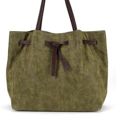 Brown belted shopper bag in a soft, washed material in olive green. Perfect as an...