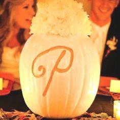 Monogram fall wedding pumpkin but we could paint the p burgandy & use orange mums