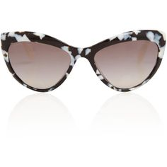 Miu Miu Black and White Acetate Cat Eye Sunglasses ($285) via Polyvore