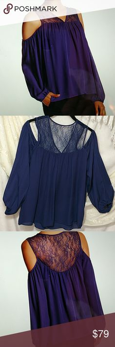 """NWT!  Parker 'Joanie' Cold Shoulder Silk Blouse Pure elegance day or night!  Sheer lace V-neck upper w/cold shoulder cutouts.  Blouson sleeves.  Banded trim.  Length:. Approx 25"""".  Material:. Shell - 100% silk. Lining - 100% polyester.  Combo - 100% nylon.           Dry clean only!   Color:. Deep purple Parker Tops Blouses"""