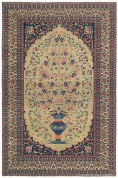 Dorasht Vase Rug, 4ft 4in x 6ft 6in, Circa 1850.   Highly collectible antique rugs from the Khorossan province, the easternmost extent of Persian rug weaving, are extremely rarely encountered. This antique Oriental rug interprets the classical Persian vase design with a painterly restraint, completely unique from the more elaborately ornamented versions woven elsewhere.