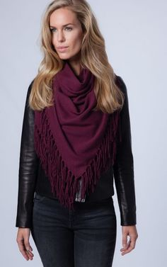 Burgundy triangle cashmere scarf with fringe can be worn as cape | REPEAT