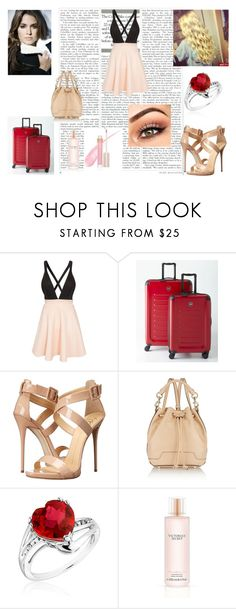 """Rose Viagem"" by artemisa-538 ❤ liked on Polyvore featuring Club L, Victorinox Swiss Army, Giuseppe Zanotti, Rebecca Minkoff, Reeds Jewelers, Victoria's Secret and Stila"