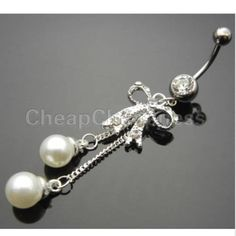 SILVER BOW DANGLE BELLY BUTTON RINGS