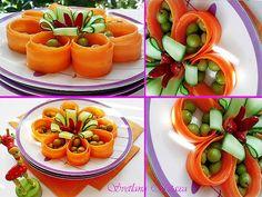 تزئین انواع سالاد 8 in 2020 Veggie Art, Fruit And Vegetable Carving, Food Design, Deco Fruit, Vegan Party Food, Food Garnishes, Garnishing, Food Sculpture, Food Carving