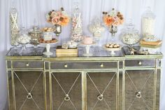 LOVE is Sweet ~ elegant dessert and candy table Romantic Desserts, Elegant Desserts, Beautiful Desserts, Elegant Cakes, Dessert Buffet, Dessert Bars, Dessert Tables, Buffet Tables, Vintage Candy Buffet