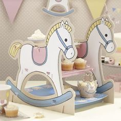 Rock A Bye baby rocking horse card tiered cake stand perfect for baby shower, Christening and naming day Horse Cupcake, Baby Cupcake, 3 Tier Cake Stand, Cake And Cupcake Stand, Cake Stands, Shower Party, Baby Shower Parties, Rocking Horse Cake, Thema Deco