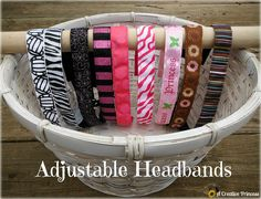 A Creative Princess: Adjustable Headbands  I made one similar but with buttons elastic and buttons.  Made a button hole to feed the excess elastic in between the two ribbon pieces