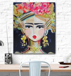 Frida Kahlo Print on paper or canvas by DevinePaintings on Etsy Abstract Paper, Abstract Canvas, Flower Prints, Flower Art, Kahlo Paintings, Original Paintings, Original Art, Floral Drawing, Crazy Colour