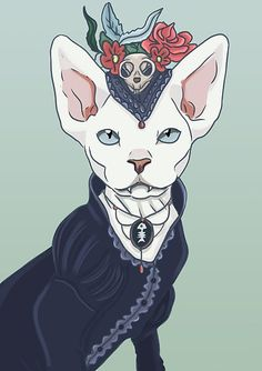 Victorian vampire cat. Available on posters, stickers, shirts and other cool stuff.
