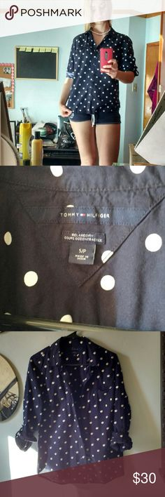 Navy Tommy Hilfiger Button Up NWOT convertible Cotton Navy TH Polka Dot Navy Button Down. Small fits like a medium Tommy Hilfiger Tops Button Down Shirts