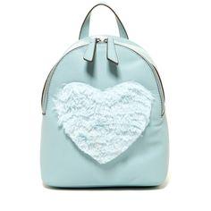 T-Shirt & Jeans Faux Fur Heart Backpack (155 DKK) ❤ liked on Polyvore featuring bags, backpacks, mint, strap bag, blue backpack, blue bag, zip bag and mint backpacks