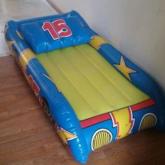 Blow up toddler race car bed & pillow! Get to our sales this March and April! #kidsconsignmentsale #upperperk #eastgreenville #lehighvalley #easton