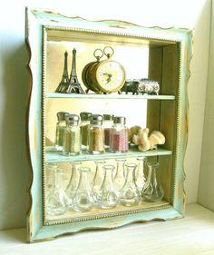 Aqua Mirrored Curio Shelf
