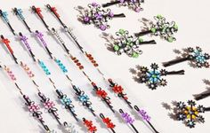 Assorted Colored Rhinestone Bobby Pins Hair Pins Clips 26 Total 13 Matched Pairs for Girls or Women by TheBDStore. $16.95. Set includes 26 total rhinestone bobby pins, 13 matched pairs. Each measures approximately 2 inches. Works for everyday wear or to add a little sparkle on a special occasion. Styles and colors vary. With butterflies, flowers and rhinestone decoration, these bobby pins work for little girls or big girls!  With 13 matched pairs, you'll have a color ... Bobby Pin Hairstyles, Styling Tools, Hair Pins, Bobby Pins, Butterflies, Little Girls, Special Occasion, Hair Care, Hair Accessories