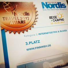 """Und jetzt ist es offiziell: #Finnweh ist Dritter in der erstmalig ausgelobten Kategorie """"Websites/Blogs"""" des #NORDIS Travel Awards geworden! Wow! Was für ein schönes Geschenk zum zweiten Geburtstag! Bin total happy! Kiitos @nordis_magazin! Und Glückwunsch an den ersten Platz dein-finnland.de"""