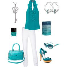 summer outfit: teal and white, created by schatzibags