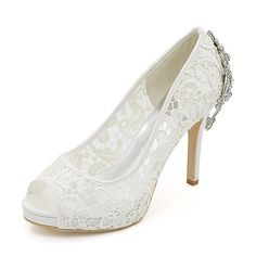 Women's Shoes Lace Tulle Spring Summer Basic Pump Wedding Shoes Stiletto Heel Peep Toe Rhinestone for Wedding Party & Evening White Black - AUD $54.04 ! HOT Product! A hot product at an incredible low price is now on sale! Come check it out along with other items like this. Get great discounts, earn Rewards and much more each time you shop with us!