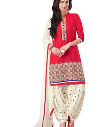 Buy Red american crepe printed semi stitiched salwar with dupatta punjabi-suit online