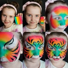 Simple face painting designs are not hard. Many people think that in order to have a great face painting creation, they have to use complex designs, rather then simple face painting designs. Animal Face Paintings, Animal Faces, Face Painting Tutorials, Face Painting Designs, Diy Face Paint, Tiger Face Paints, Girl Face Painting, Maquillage Halloween, Cat Face