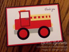 Punch art fire truck thank you card, made with Stampin' Up! products! (Firetruck design inspired by Christine Gaydos). www.nicollebelesimo.stampinup.net