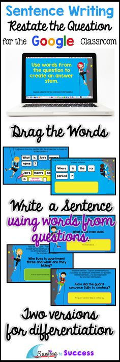 Students will practice writing complete sentences by restating the question. This interactive digital resource in Google Slides drag words from the question to create answers. Then students type their own answer stems. Two versions are available for differentiation.