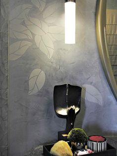 Stenciled Venetian plaster walls by artist Willem Racké