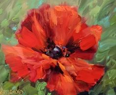 Crescendo Poppy and Painting Under the Tuscan Sun - Flower Paintings by Nancy Medina, painting by artist Nancy Medina