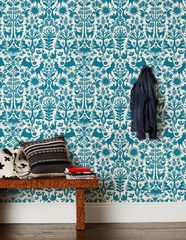 Hygge and West Otomi wallpaper (including removeable!) in turquoise. I could make something cool happen with this.