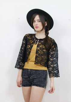 90s+sheer+black+lace+cropped+cardigan/capelet
