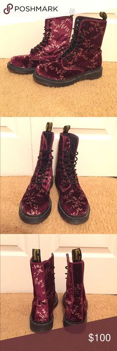 Dr. Martens Avery Velvet Floral Boots Worn only twice, excellent condition! These boots are absolutely adorable I just don't ever wear them! Dr. Martens Shoes Combat & Moto Boots