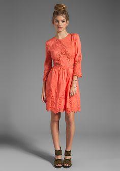 DOLCE VITA Valentina Petticoat Embroidery Long Sleeve Dress in Melon at Revolve Clothing $275.00