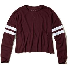 Hollister Must-Have Oversized Waffle T-Shirt ($25) ❤ liked on Polyvore featuring tops, t-shirts, burgundy dd, crew-neck tee, crew neck tee, striped t shirt, slouchy t shirt and crew neck t shirt