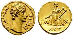 Imperial Rome AV Aureus ND 15/13BC Lugdunum Mint  Augustus Caesar 27BC-14AD