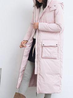 Solid H-line Long Sleeve Casual Hoodie Down Coat
