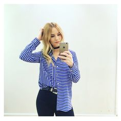 A simple fitted shirt is a wardrobe staple, and we're loving this classic style. With a crisp collar, and button down placket to the front it's finished with an all-over contrasting mixed stripe detailing and uneven hemline. Style back with denim and heels for a trending feel. #Topshop