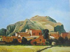 Olio su tela, Copia dell'autore Francesco Lojacono. Veduta di Monte Pellegrino dell'ottocento. E' stato venduto. Contatto: micheleboscia89@gmail.com #art #sicily #italy #palermo #view #paesaggio #landscape #village #paese