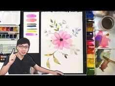 Only One Special Painting Technique Watercolor Flowers Tutorial, Watercolour Tutorials, Watercolor Techniques, Painting Techniques, Watercolor Projects, Watercolor Cards, Floral Watercolor, Watercolor Paintings, Painting Videos